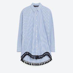 Zara striped button down shirt with pom poms